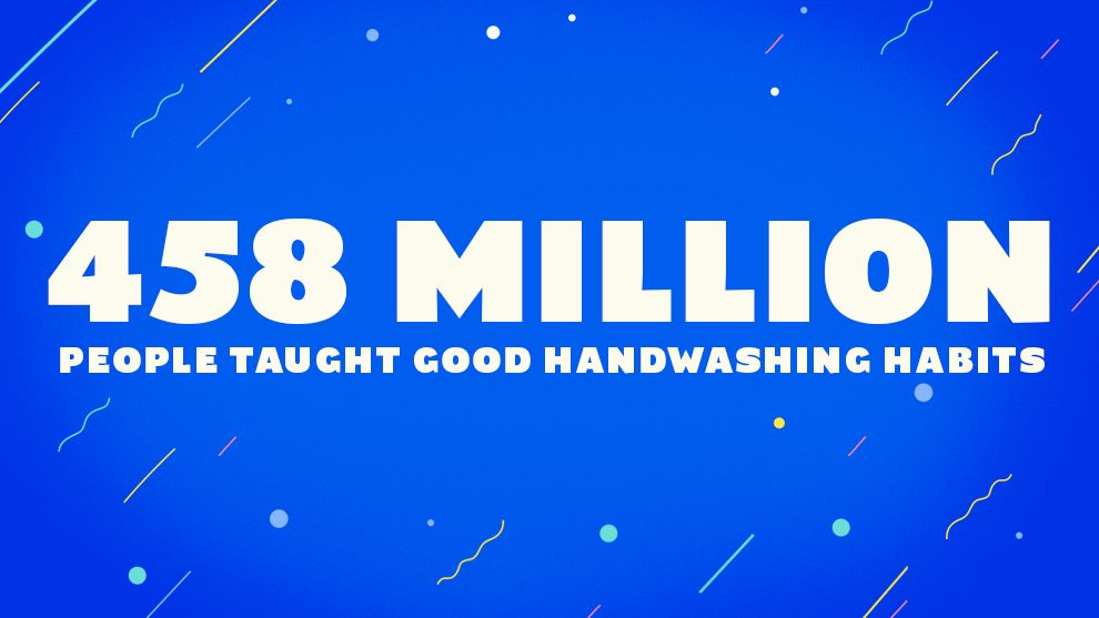 458 million people taught good handwashing habits